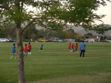 Photo of children playing soccer at Mills Park