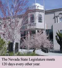 Photo of the Nevada State Legislature which meets 120 days every other year